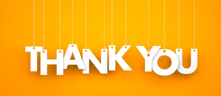 Thank you. Text hanging on the rope Standard-Bild