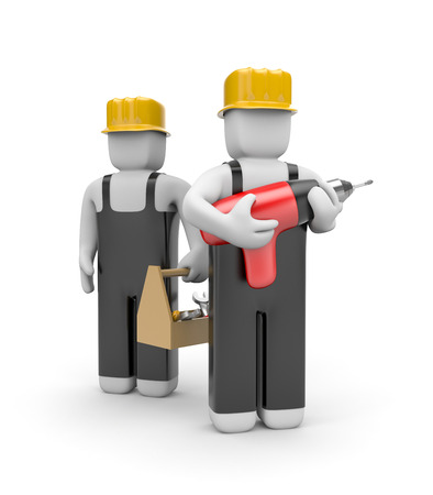 constructor: Manual workers. Isolated on white Stock Photo