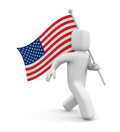 flagstaff: 3d man and USA flag Stock Photo