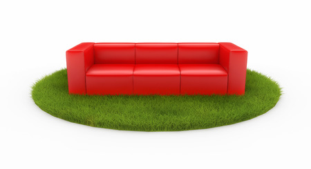 red sofa: Red sofa on green field