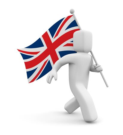 britain flag: 3d man and Great Britain flag Stock Photo