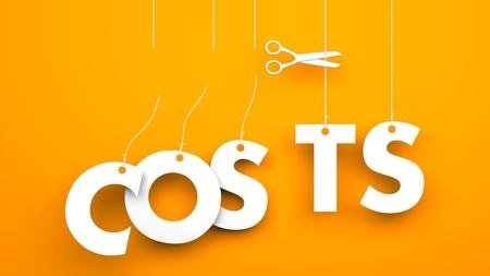 Nożyczki obniża koszty słów. Conceptual obraz firmy