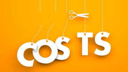 less: Scissors cuts word COSTS. Conceptual business image