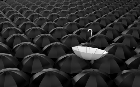 best shelter: Standing out from the crowd. Umbrella metaphor
