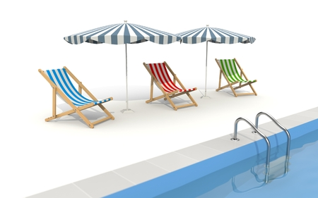 loungers: Parasols and sun loungers are near the pool. The illustration shows that the rest waiting for tourists, and the tourist season is near