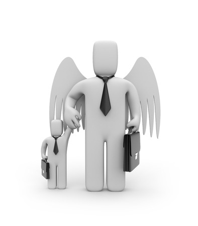 angel 3d: Big business is helping small businesses or father and son. Business concept. Isolated on white Stock Photo