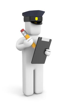 gorra polic�a: La gente en la met�fora de trabajo. Aislado en blanco