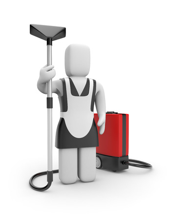 vacuum cleaner worker: Maid with vacuum cleaner. Manual worker. Isolated on white. Stock Photo