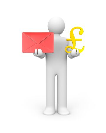 monetize: Monetize you mail. Business concept. Isolated on white