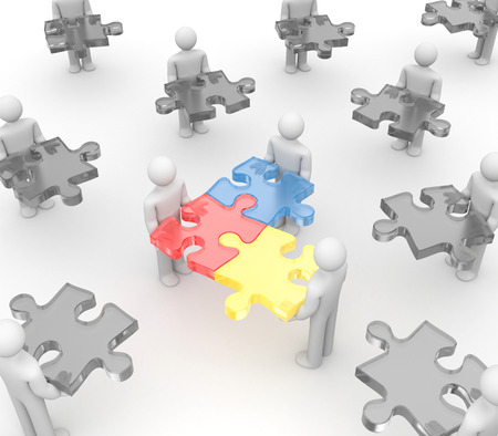 merge: Partnership concept. Isolated on white