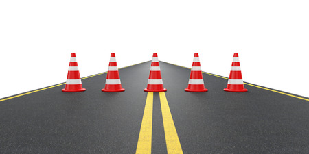 traffic   cones: Road with traffic cones. Isolated on white