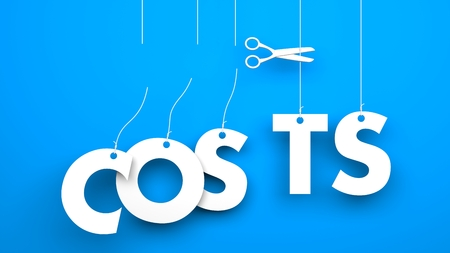 scissors cut: Scissors cuts word COSTS. Conceptual business image