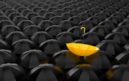Standing out from the crowd. Umbrella metaphor