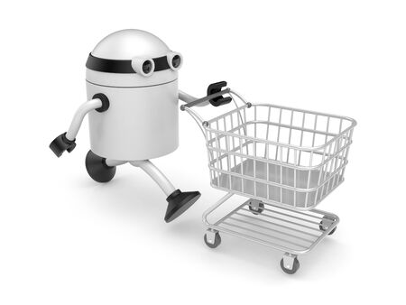Robot with shopping cart photo