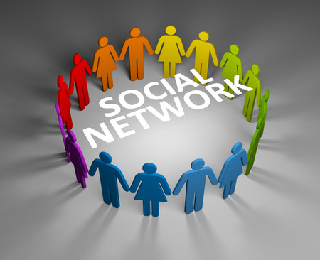 chat group: Social network metaphor. Conceptual image