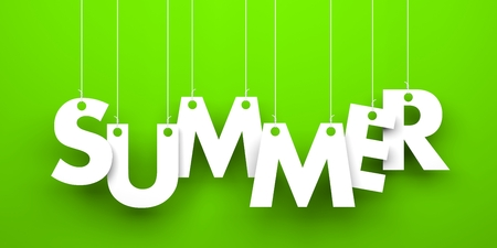 sumer: Summer word hanging on a strings Stock Photo