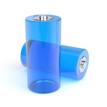 Glossy batteries Stock Photo