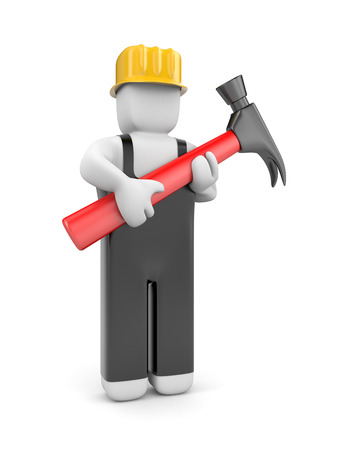 manual worker: Manual worker with hammer