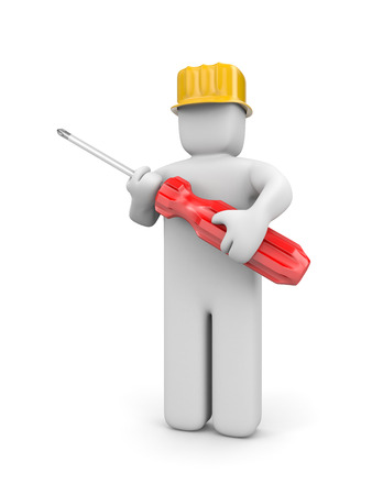 manual worker: Manual worker with screwdriver