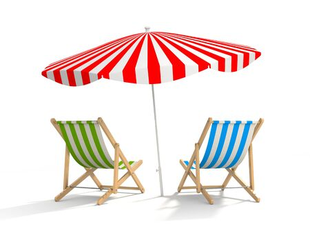 loungers: Two sun loungers and parasols. The illustration shows that the rest waiting for tourists, and the tourist season is near