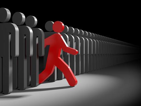 Röd karaktär löper från mängden av grå tecken. Symboliserar ledarskap och originalitet