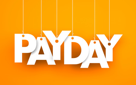 payday: Payday word - suspended by ropes on orange background