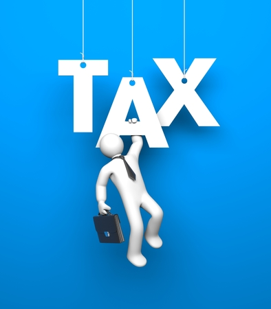 taxes budgeting: White 3D man dressed like a businessman hangs on the letter grasping her hand. The letters suspended by ropes on an blue background. Stock Photo