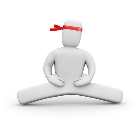 splits: 3d white character with a red bandage on his head doing the splits Stock Photo