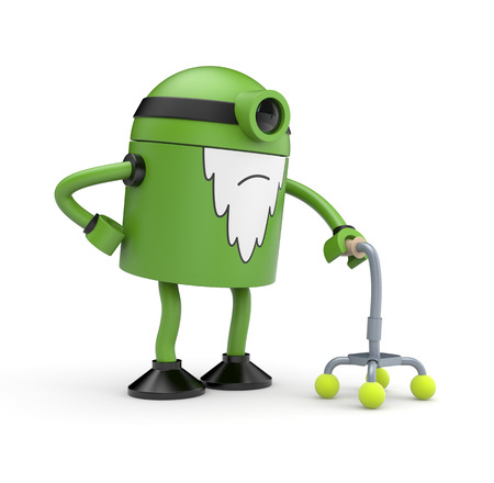 whose: Old green cyclop robot whose back pain holding a crutch