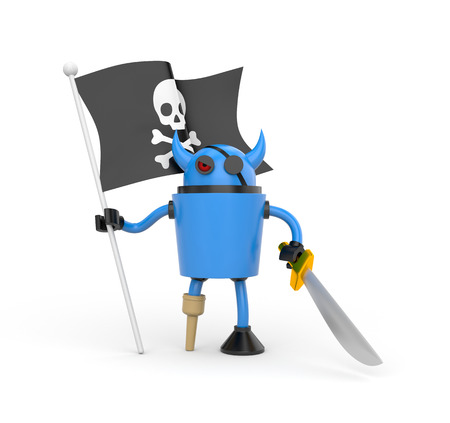 jackplug: Blue robot pirate with a wooden leg, sword and a flag with Jolly Roger Stock Photo