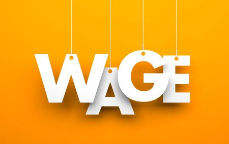 White word WAGE suspended by ropes on orange background