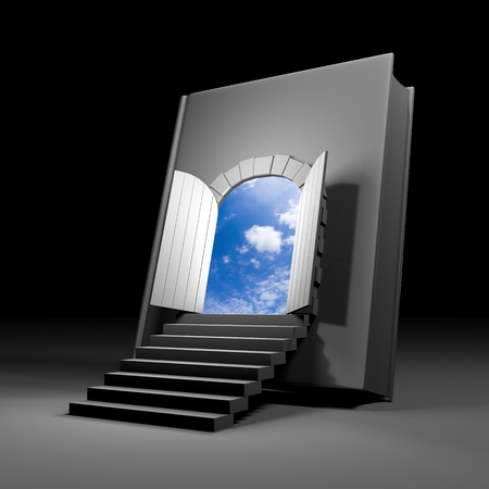 hardcovers: The book opens the way to heaven. Symbolizes new features that give the knowledge. Illustration in dark colors only the blue sky gives a contrast