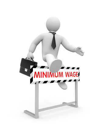 minimum wage: Car�cter blanco 3D vestido como un hombre de negocios salta sobre un obst�culo en la que est� escrito el sueldo m�nimo Foto de archivo