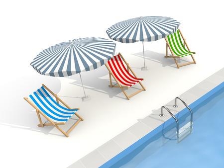 Parasols and sun loungers are near the pool. The illustration shows that the rest waiting for tourists, and the tourist season is near