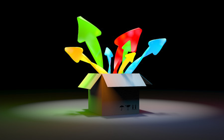 different directions: Ordinary cardboard box which pop up in different directions, color arrows