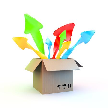 color in: Caja de cart�n ordinario que pop-up en diferentes direcciones, flechas de color Foto de archivo