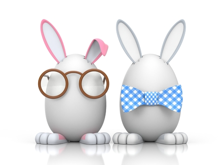 butterfly rabbit: Easter Bunny sitting in the eggs. One hare obviously male with butterfly - grey, the other a rabbit with glasses clearly female - pink.