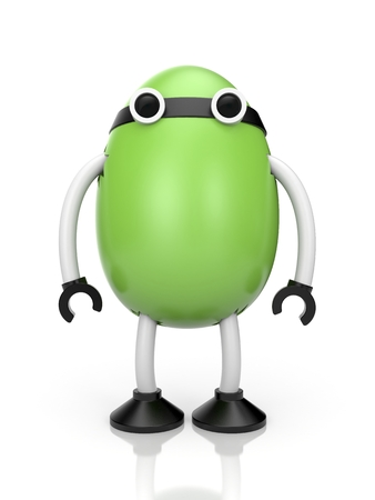 jackplug: Green egg with hands, feet, and eyes. Much like a robot sits inside the egg Stock Photo