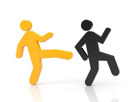 bad leadership: Orange character kick on the ass black character Stock Photo