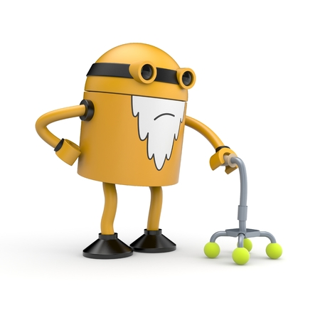 whose: Old orange robot whose back pain holding a crutch Stock Photo