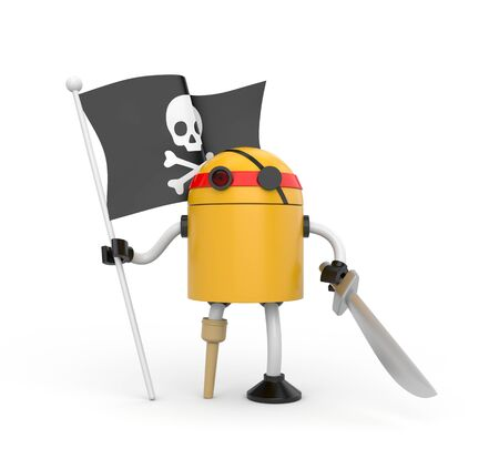 Orange robot pirate with a wooden leg, sword and a flag with Jolly Roger Stockfoto