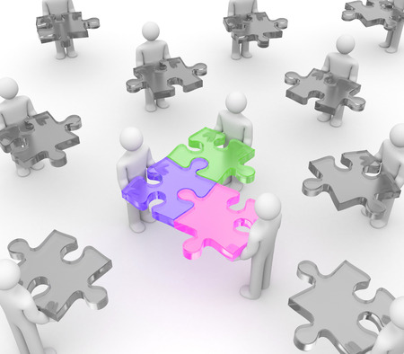 link work: The illustration shows that disparate people together in one team. Colorful puzzles make this picture more clear