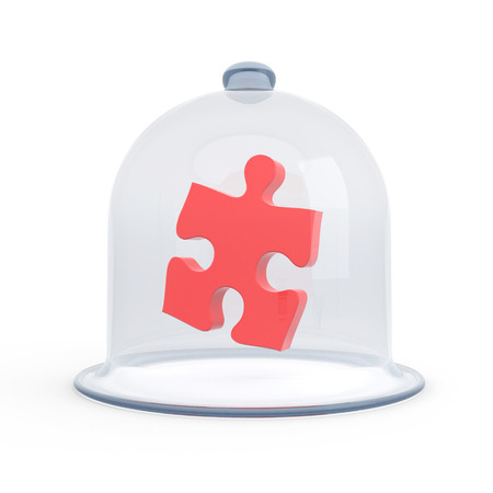 leasure: A glass dome covers the red puzzle. Symbolizes the safety of secrets Stock Photo