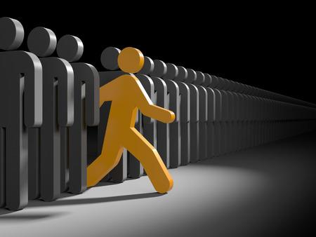 khái niệm: nhân vật Orange chạy từ đám đông của các nhân vật màu xám. Tượng trưng cho lãnh đạo và độc đáo