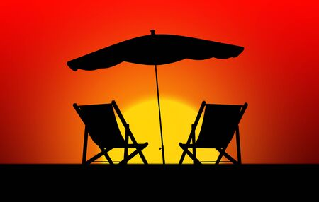 loungers: Colorful sunset with two sun loungers and parasol Stock Photo