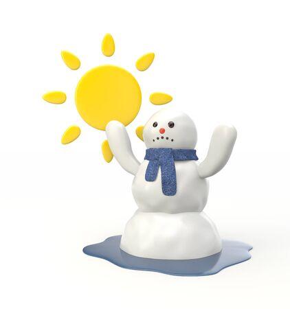 bonhomme de neige: Le printemps arrive! Le bonhomme de neige fond et se transforme en une flaque d'eau! Banque d'images