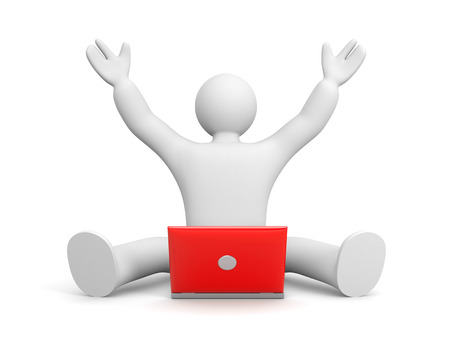 rejoices: White 3D character rejoices something looking at the screen of his red laptop.