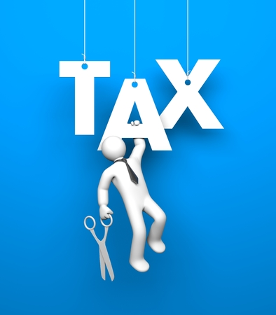 taxes budgeting: White 3D character dressed like a businessman hangs on the letter grasping her hand. In another hand he holds a scissors. He wants to cut the ropes to get rid of the tax burden Stock Photo