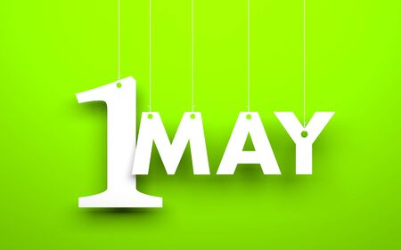 may calendar: White word 1 may suspended by ropes on green background. Illustration for the may holidays