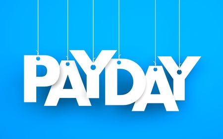 payday: Payday word - suspended by ropes on blue background